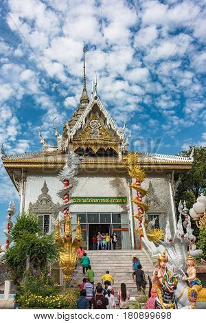 Buddhist Temple With Colorful Silver Decoration