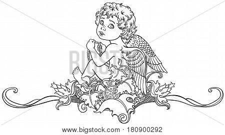 cartoon little angel sitting on floral ornament. Black and white decorative outline vector illustration