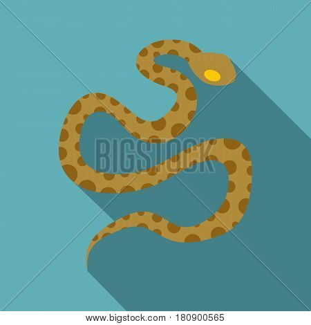 Brown spotted snake icon. Flat illustration of brown spotted snake vector icon for web
