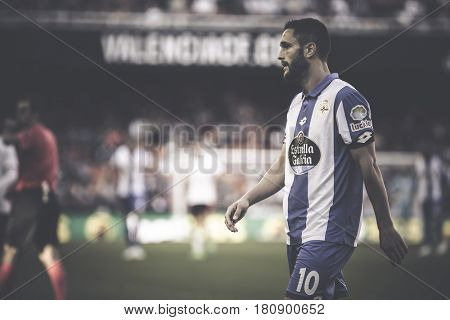 VALENCIA, SPAIN - APRIL 2: Andone during La Liga match between Valencia CF and Deportivo at Mestalla Stadium on April 2, 2017 in Valencia, Spain