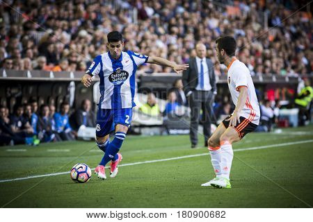 VALENCIA, SPAIN - APRIL 2: Juanfran with ball during La Liga match between Valencia CF and Deportivo at Mestalla Stadium on April 2, 2017 in Valencia, Spain