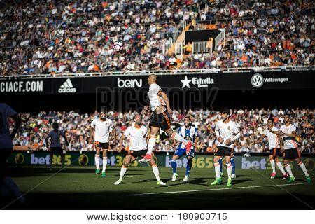VALENCIA, SPAIN - APRIL 2: Zaza jumps during La Liga match between Valencia CF and Deportivo at Mestalla Stadium on April 2, 2017 in Valencia, Spain