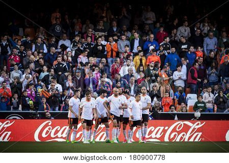 VALENCIA, SPAIN - APRIL 2: Valencia players celebrate a goal during La Liga match between Valencia CF and Deportivo at Mestalla Stadium on April 2, 2017 in Valencia, Spain