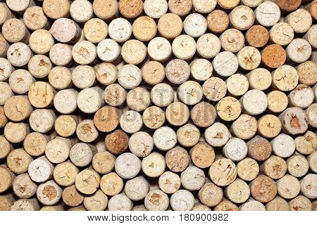 Wine corks background horizontal / used wine corks / many wine corks / closeup of a wall of used wine corks