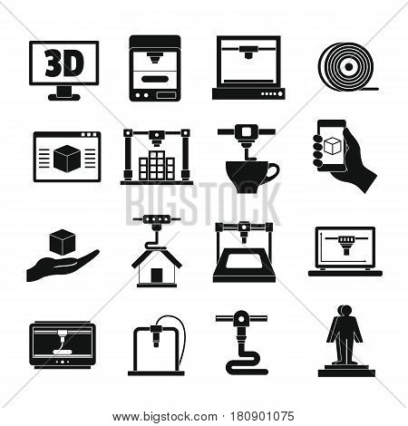 3D Printing icons set. Simple illustration of 16 3d Printing vector icons for web