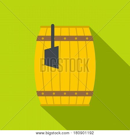 Wooden barrel with ladle icon. Flat illustration of wooden barrel with ladle vector icon for web