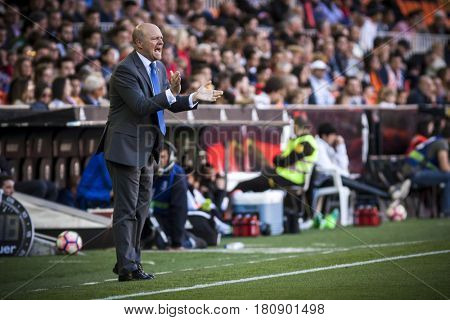 VALENCIA, SPAIN - APRIL 2: Pepe Mel during La Liga match between Valencia CF and Deportivo at Mestalla Stadium on April 2, 2017 in Valencia, Spain