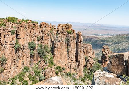 View of dolerite columns near Graaff Reinet with the Valley of Desolation below