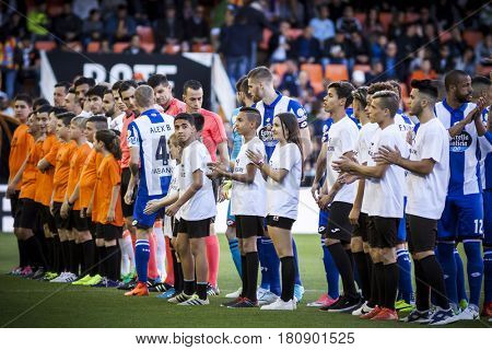 VALENCIA, SPAIN - APRIL 2: Players during La Liga match between Valencia CF and Deportivo at Mestalla Stadium on April 2, 2017 in Valencia, Spain