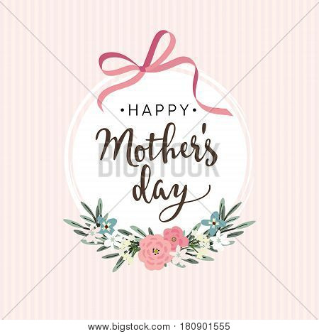 Mothers day greeting card, invitation. Brush script, calligraphic design. White label with ribbon, flowers, leaves and striped background, stock vector illustration.