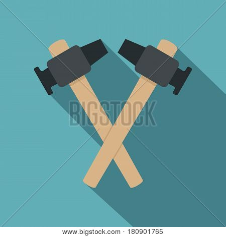 Crossed blacksmith hammer icon. Flat illustration of hammer vector icon for web
