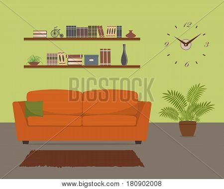 Green living room with orange sofa and big clock on the wall. There are also shelves with books and home decor, flower in pot in the picture. Vector flat illustration.