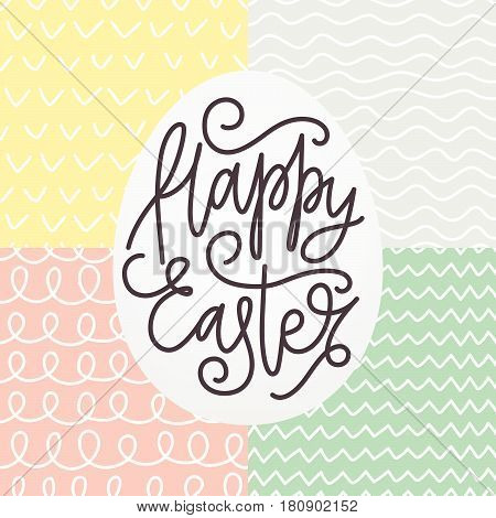 Happy Easter card with a lettering. Hand drawn seamless pattern set for Easter. Scrapbook elements doodle style. Vector illustration.