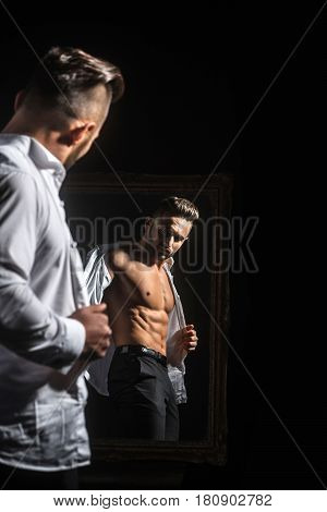 Muscular Macho Man With Sexy Athlete Body Near Vintage Mirror
