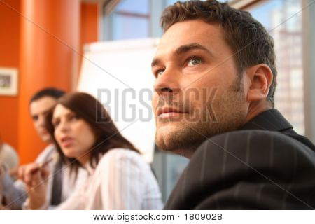 Business Meeting Of Three People, Close Up