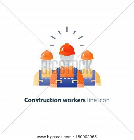 Construction workers in hard hat and jumpsuit, builders in uniform, contractor man, manual labor, vector mono line illustration