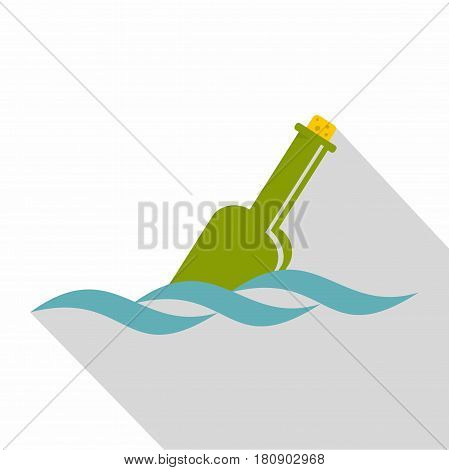 Glass green bottle in a water icon. Flat illustration of glass green bottle in a water vector icon for web