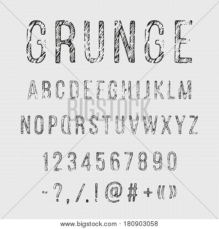 Hand drawn grunge letters. Vector alphabet punctuation marks numerals on white background