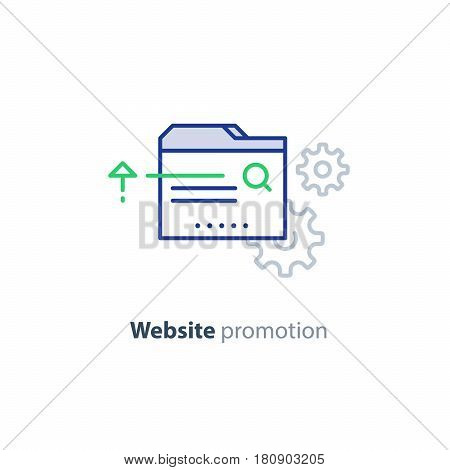 Web site promotion concept, website development, search result optimization, vector mono line design