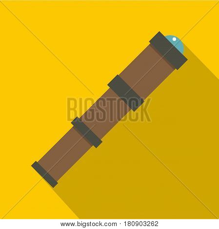 Antique telescope icon. Flat illustration of antique telescope vector icon for web