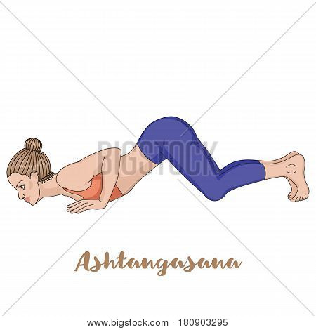 Women silhouette. Eight-Limbed Yoga Pose Ashtangasana Vector illustration