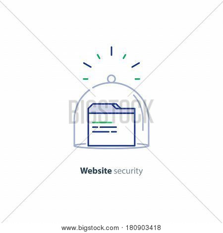 Website security services, browser window, guard system concept, protection technology, hacker attack threat prevention, vector mono line icon