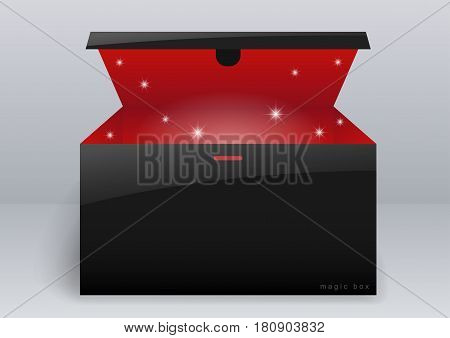 Magic box or gift black package for the goods. Vector graphics