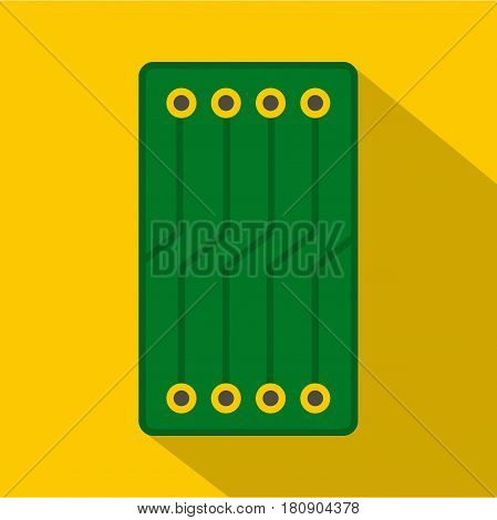 Green circuit board icon. Flat illustration of green circuit board vector icon for web