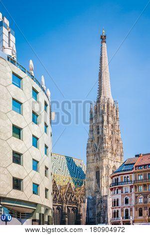 Wiener Stephansdom With Haas Haus In Summer, Vienna, Austria
