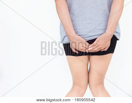 Young woman has pain in the butt Hemorrhoids Anal disorders.