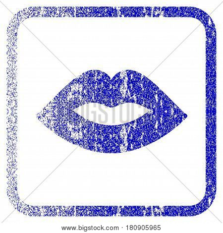 Lips textured icon for overlay watermark stamps. Blue vectorized texture. Flat vector symbol with scratched design inside rounded square frame. Framed blue rubber seal stamp imitation.