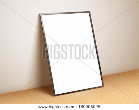 Blank white paper poster standing on wooden floor. Poster mock-up template