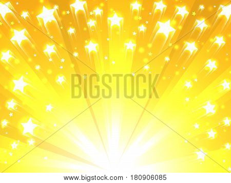 Bright glowing stars on colorful yellow background
