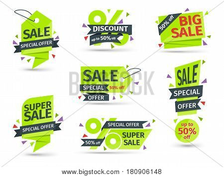 Set of yellow colored stickers and banners. Geometric shapes and confetti. Big set of beautiful discount and promotion banners. Advertising element. Sale banner tag. Vector illustration.