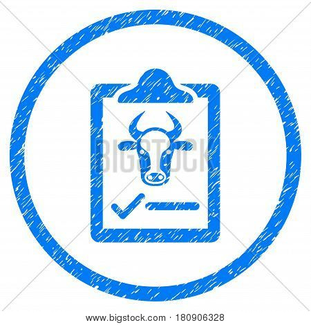 Cattle Contract grainy textured icon inside circle for overlay watermark stamps. Flat symbol with dirty texture. Circled vector blue rubber seal stamp with grunge design.