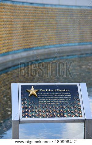 WASHINGTON DC, USA - 03 MAY 2014: Freedom Wall in World War II Memorial in Washington DC. The wall holds 4,948 stars and each star represents 100 American soldiers died in a war.