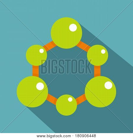 Green molecule structure icon. Flat illustration of green molecule structure vector icon for web