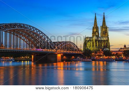 Cologne city skyline at night Cologne Germany