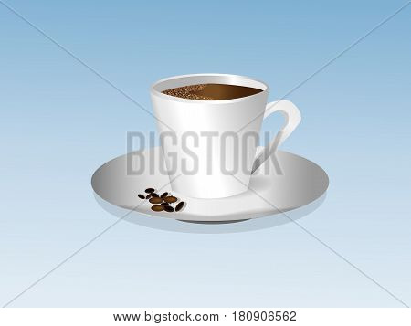 Cup of coffee with foam on a saucer with coffee beans on a blue background