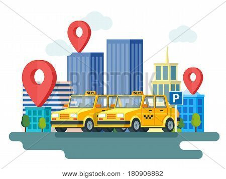 Yellow taxi car. Booking taxi. Online taxi service. Banner in flat 3d style. City skyscrapers and car. City silhouette with skyscrapers. Design in flat modern style. Vector illustrations.