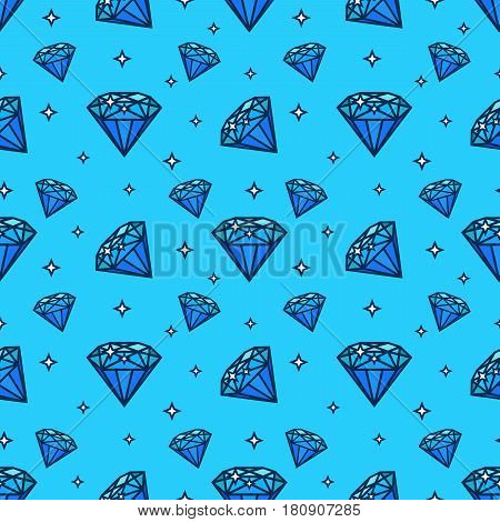 Vector seamless pattern with gem and diamond icons. Texture and design element with jewerly flat icon. Fashion pattern