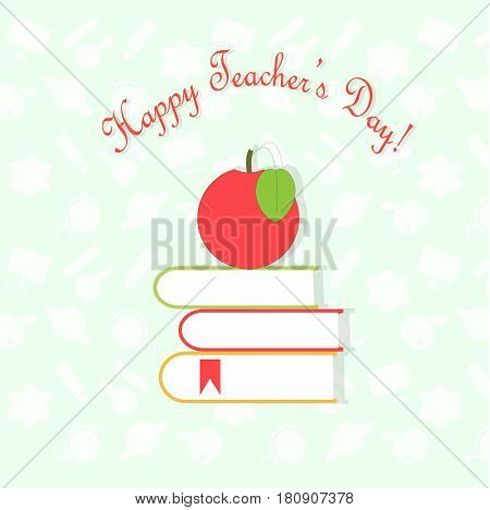 Typography banner Happy Teachers Day, red apple on books on white light blue and white pattern background, stock vector illustration