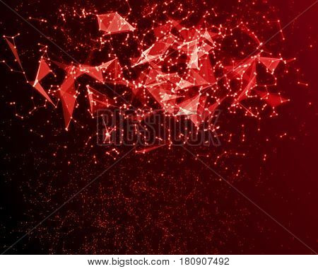 Abstract Digital Background With Red Cybernetic Particles.