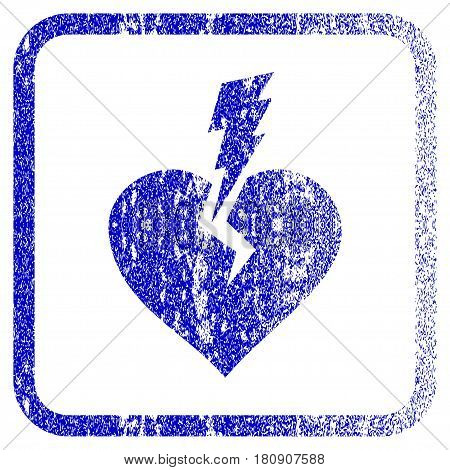 Love Heart Crash textured icon for overlay watermark stamps. Blue vectorized texture. Flat vector symbol with scratched design inside rounded square frame. Framed blue rubber seal stamp imitation.