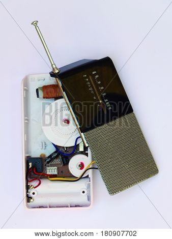 Interior of the radio. Open pocket radio showing your pieces.
