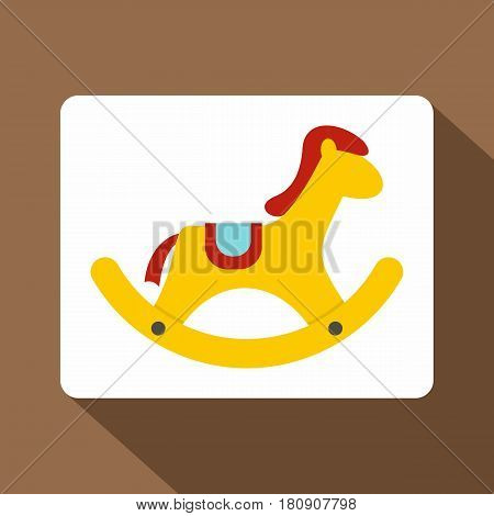 Yellow wooden rocking horse icon. Flat illustration of yellow wooden rocking horse vector icon for web