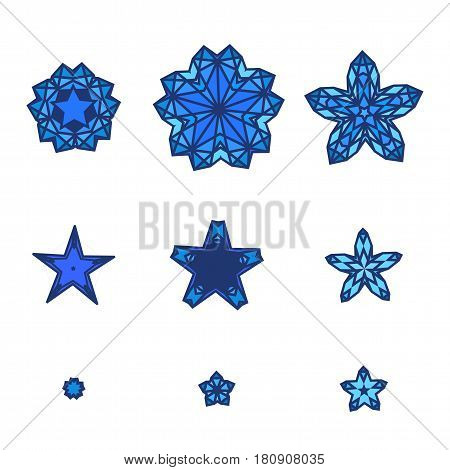 Set of stars, snowflakes. Star icon in flat design style. Blue different stars collection