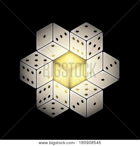 Vector Abstract Composition with Gambling Dices on Black Background.