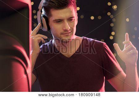Handsome Dj Wearing Headphones