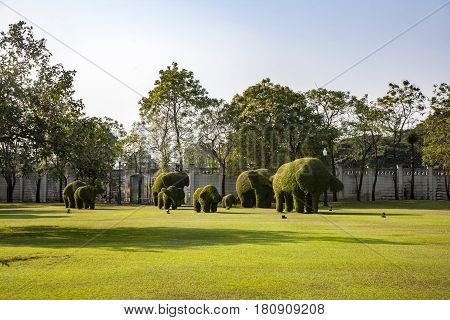 Bushes Cut To Animal Figufres In The Park Of Bang Pa-in Palace